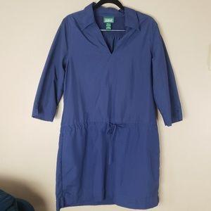 LL Bean Blue Shift Dress Size Large Drawstring G17